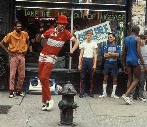 Breakdancers, B-Boys, on the street, New York, USA 1981